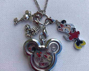 Minnie Mouse Inspired Silver Stainless Steel Crystal Glass Memory Locket