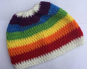 Rainbow Messy Bun Ponytail Beanie Hat For Ladies