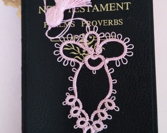 SOFT Pink Angel Tatted Lace Bookmark with Tassel Handmade Tatting