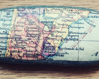 Vintage map paperweight- South America