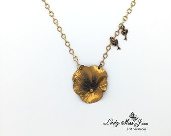 Repurposed Vintage Copper Pansy Necklace