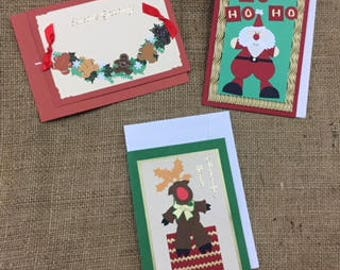 Christmas Card Set (3) Handcrafted with Envelopes