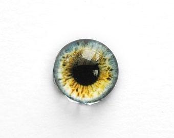 15mm handmade glass eye cabochon - grey / brown eye - Hemispherical / High Dome