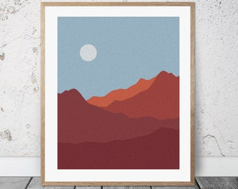 Red Mountains / Landscape / Wall Art / Poster / Printable / Download / Nature