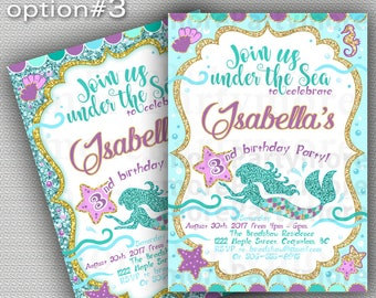 Mermaid Birthday Invite, Mermaid Invitation, Under The Sea Party, Teal Purple, Little Mermaid, Mermaid Party Invite, Pool Party Invitation