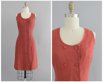 raspberry linen dress   vintage 90s double breasted shift dress   vtg 90s fitted dress   small