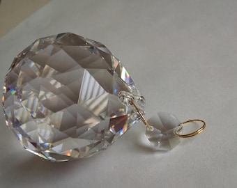 Asfour Full Lead Crystal Clear Faceted Chandelier Ball Ornament Prism 50mm
