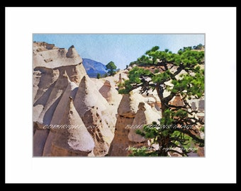 Santa Fe New Mexico Tent Rocks Watercolor Effect Giclee Art Print