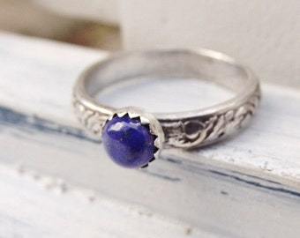 Blue lapis Lazuli Ring - Sterling Silver Gemstone Ring - Handmade Gemstone Jewelry - Stacking Ring