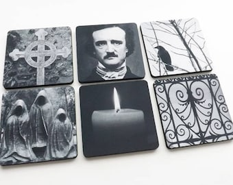 Edgar Allan Poe Coaster Halloween hostess gift party favor goth decorations trick treat spooky macabre cemetery raven gothic decor mug mat