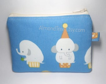 Elephant, blue zip pouch, women wallet, gift ideas credit card case, padded coin purse, id180409 portemonnaie, moneybag, small zipper pouch