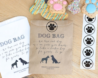 Dog bag. Doggie Treats. Wedding Dog Favor Bag. Paper Bag for Dog Cookies. 20 Wax Lined Bags & 20 paw print stickers