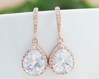 Bridal Earrings Bridesmaid Gift Wedding Earrings Bridal Jewelry LUX Rose Gold clear white cubic zirconia Crystal tear drop Wedding Earrings