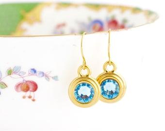 March Birthstone Earrings, Personalized March Birthday Gift, Birthstone Dangle Earrings, Birthday Stone Jewelry, Custom Birthstone Earrings