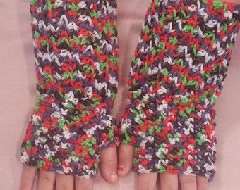 Bright Multi-Colored Fingerless Gloves Wrist Warmers - Size L/XL - Handmade