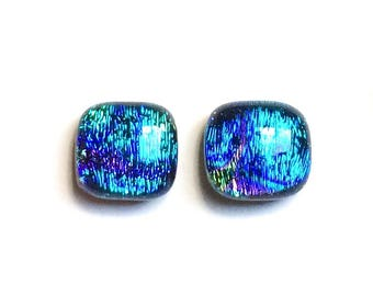 Dichroic Fused Glass Stud Earrings, 10mm Cabochons, Cabs, Turquoise, Blue, Purple, Green, Hypoallergenic Surgical Steel Posts