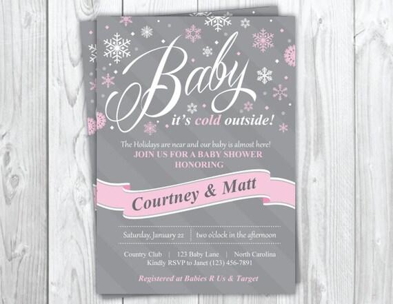 Holiday Baby Shower Invitation, Christmas Baby Shower Party, Snowflake Baby Shower, Winter Baby Shower