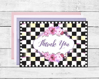 Black and White Checked Thank You Note Cards Wedding Thank You Notes Package of 10 Checkered Cards