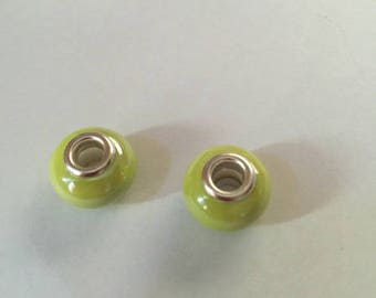 beads (two) lime green porcelain