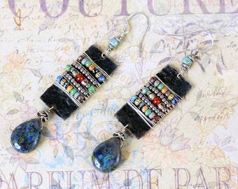 Tribal Earrings, Picasso Seed Bead Earrings, Black Metal Earrings, Teardrop Earrings, Boho Earrings, Statement Earrings, Tribal Jewelry