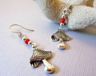Mushroom Earrings, Silver Color Mushroom and Red Coral Earrings, Dangle Mushroom Earrings, Bumpy Mushroom Charms Earrings, Mushroom Jewelry