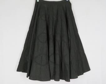 Vintage 40s 50s Black Taffeta Circle Skirt W 26 Trapunto Stitching Metal Zip