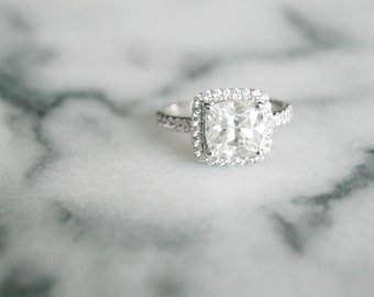 Halo Engagement Ring, White Gold Ring, Halo Diamond Ring Cushion Cut Moissanite Center Stone in White Gold, Diamond Cushion Halo Gold Ring