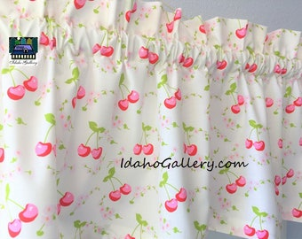 Cherry Kitchen Curtain Kitsch Retro Curtain Pink Red Cherries Sweet Little Cherry Valance Window Treatment by Idaho Gallery