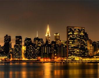 Skyline, NYC Art Print, Wall Art, Night Photography, New York photography, photo, print, New York Prints, Empire State, Chrysler, NYC art