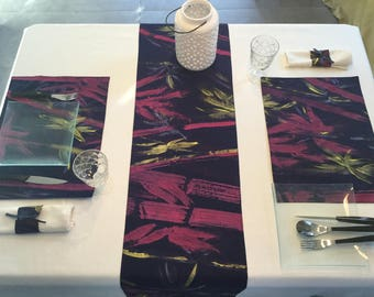 Set of table cloth pattern hand painted bamboo