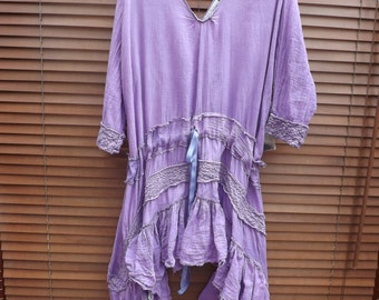 RitaNoTiara Violet pearl plus size & regular purple gauze cotton lace Dress Daisy drop waist layering shabby Boho Gypsy Prairie Lagenlook
