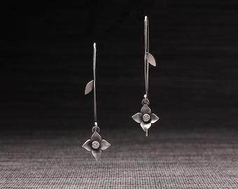 Flower Stem Earrings