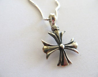 Silver Cross Charm-Oxidized Sterling Silver Charm