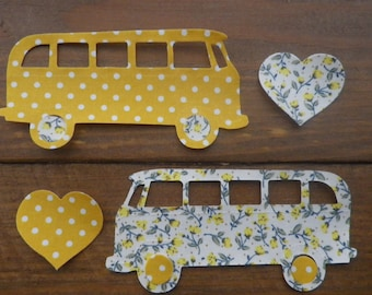 Set of 2  Iron On VW CAMPERVANS  In Floral/Dotty Fabric