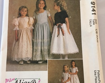 9141 McCalls Girls Dress In Two Lengths Vintage Sewing Pattern sz 3,4,5 Flower Girl Dress Special Occasion Dress