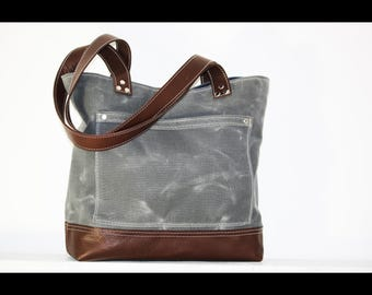 Charcoal Waxed canvas tote - heavy weight water resistant canvas bag and genuine leather  #010052.1