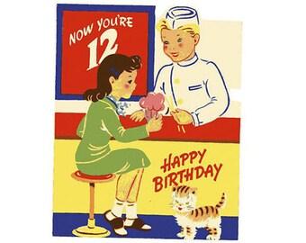 Vintage Original unused Greeting card Happy Birthday 12 Year Old-You're almost in your teens