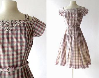 1950s Gingham Dress   Carousel   50s Dress   S M