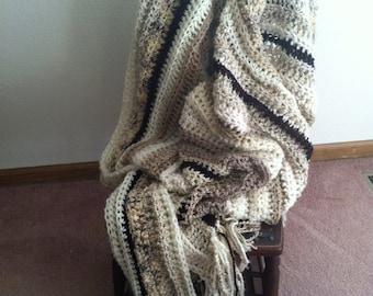 Afghan Throw Decor Striped neutral beige brown