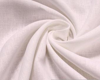 Fabric pure linen white