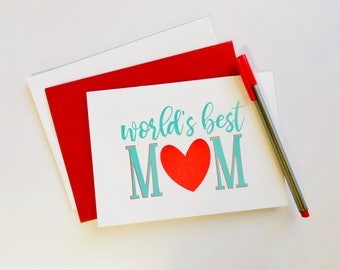 Mother's Day Card, Birthday Card for Mom, World's Best Mom, Greeting Card, Mother of the Bride, Wedding, Mother of the Groom, Mothers Day