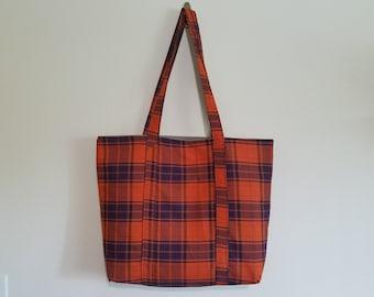 Tote Bag / Upcycled / Orange Purple Plaid