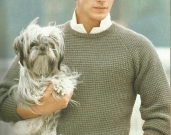 Vintage Men's Round Neck Slip Stitch Raglan Sweater Knitting Pattern