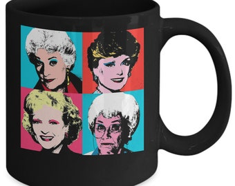 Golden Girls Crew Mug (Black) 11oz Golden Girls Coffee Mug - Rose Blanche Dorothy Sophia - Golden Girls Merchandise Cup - Gift For Friend
