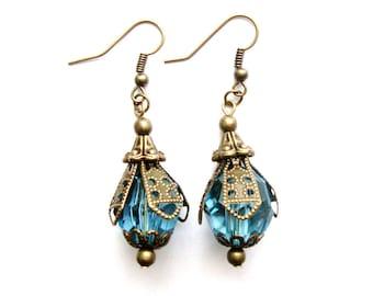 Blue Stone & Brass Victorian Earrings, titanic jewelry, titanic earrings, victorian earrings, vintage earrings, blue earrings