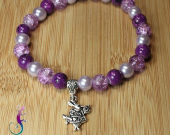 Bracelet with pearls and violet, renaissance rabbit Kit