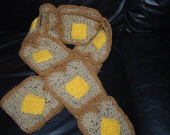 Crocheted Buttered Toast scarf on Multi Grain &  Wheat bread
