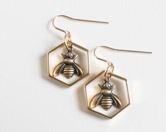 Bee Earrings - Hexagon Earrings - Bee Jewelry - Hexagon Earrings - Geometric Earrings - Sacred Geometry - Honey Bee - Bee Charm - Bumble Bee