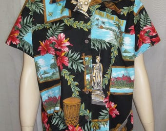 Vintage Women's Hilo Hattie Large Hawaiian Shirt Postcards Kamehameha Hibiscus Aloha