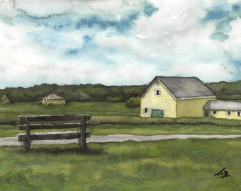 Art Print // YELLOW BARN - Gouache